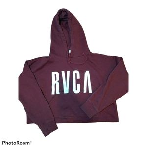 RVCA Burgundy Red Cropped Hoodie Spellout